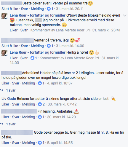 Leserne er rause med ros om «Tideverv» på Facebook. Her er noen tilbakemeldinger.