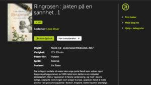 Slik presenteres RIngrosen som lydbok for NLBs brukere